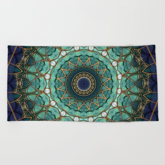 Majestic Topaz Ocean Kaleidoscope Beach Towel