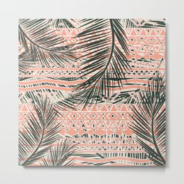 Tropical Aztec |  Coral Abstract Aztec Tropical Palm Leaf Pattern Metal Print