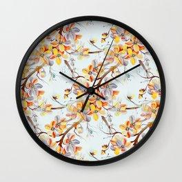 Japanese Cherry Tree Flowers in Seamless Pattern Wall Clock