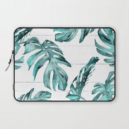 Turquoise Palm Leaves on White Wood Laptop Sleeve