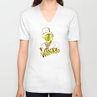 willy wonka V-neck T-shirts featuring W gold by Buby87