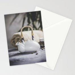 Tea set and spa settings on concrete background. Natural spa treatment and relaxation concept Stationery Cards