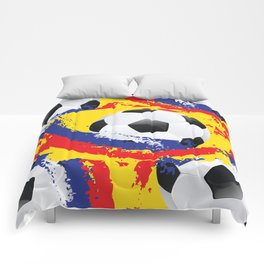 Football Ball and red, blue and yellow Strokes Comforters