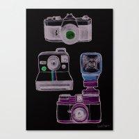 cameras Canvas Prints featuring Cameras by Sara Wilson
