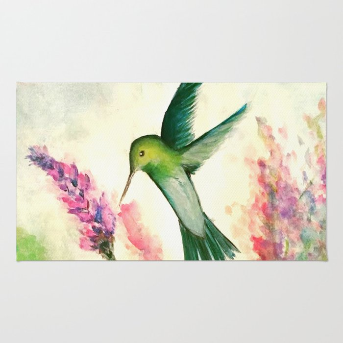 Hummingbird & Lupine watercolor Rug