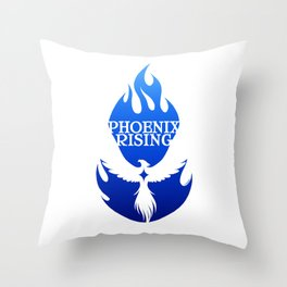 PHOENIX RISING blue with flames and star center Throw Pillow