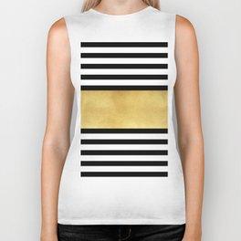 Zebra pattern with golden stripe Biker Tank