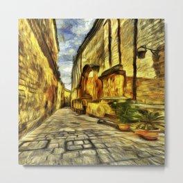 Mdina Street Malta Van Gogh Metal Print