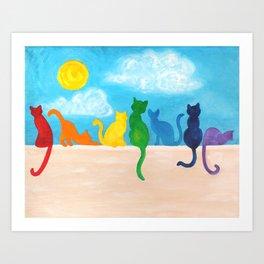 Catch A Rainbow - Cats on a Wall Art Print