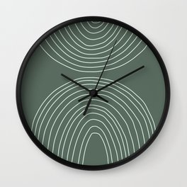 Handdrawn Geometric Lines in Forest Green Wall Clock