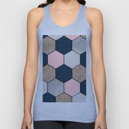 Navy and peach marble and foil hexagons Unisex Tank Top