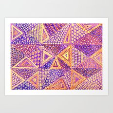 Handmade Abstract Background, Violet Dominant Art Print