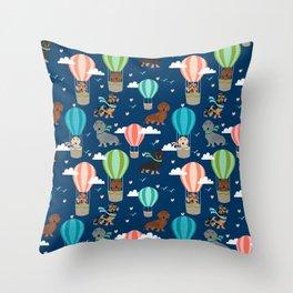 Dachshund hot air balloon dog cute design fabric doxie pillow decor phone case Throw Pillow