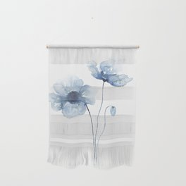 Blue Watercolor Poppies Wall Hanging
