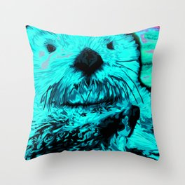 Sea Otter, mint green Throw Pillow
