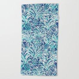 PINEAPPLE WAVE Blue Painterly Watercolor Beach Towel