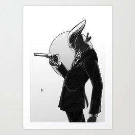 Robot Assassin, Black and White Art Print