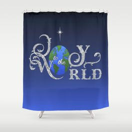 Joy to the World Silver Shower Curtain