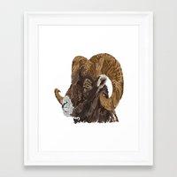 ram Framed Art Prints featuring Ram by FractalFox