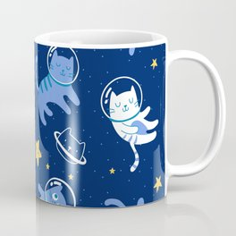 Super Cute Outer Space Astronaut Cats Vintage Pattern Coffee Mug