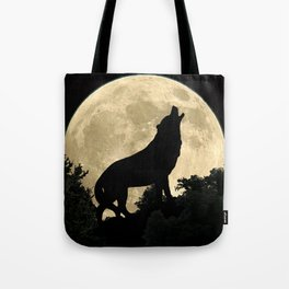 Wolf Howling at the Full Moon A303 Tote Bag