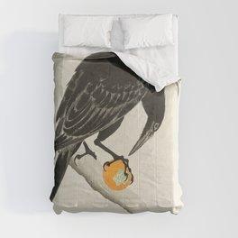 Crow eating persimmon Fruit - Vintage Japanese Woodblock Print Art Comforters