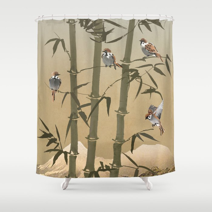 Sparrows And Bamboo Shower Curtain by spadecaller | Society6
