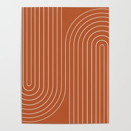 Minimal Line Curvature - Coral Red Poster