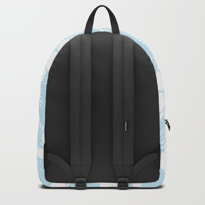 Blue monstera tropical leaves print Backpack