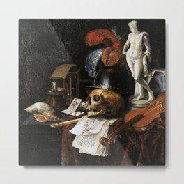 Vintage Vanitas- Still Life with Skull 3 Metal Print