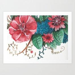 Ruby Botanical 2 Floral Watercolor Art Print
