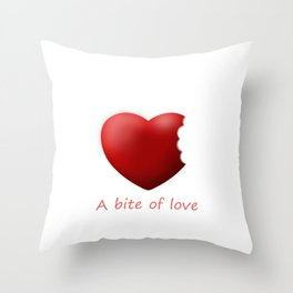A bite of love (nibbled heart 2) with words Throw Pillow