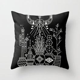 Santa Fe Garden – White Ink on Black Throw Pillow
