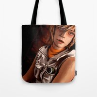 silent hill Tote Bags featuring Heather Mason - Silent Hill 3 by JeyJey Artworks