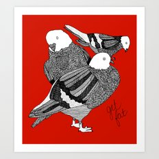 Red Pigeons Get Fat Art Print