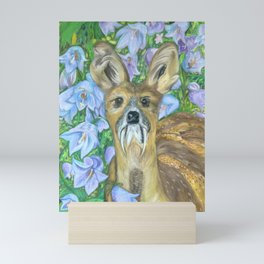 Musk Deer with Bluebells Mini Art Print