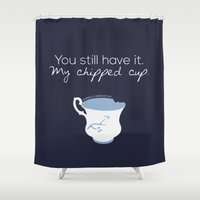 ouat Shower Curtains featuring Rumbelle Quote (OUAT) by CLM Design