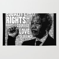 mandela Area & Throw Rugs featuring Mandela tribute by WAMTEES