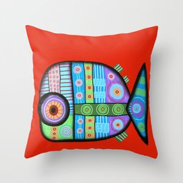 Fish which ate ship Throw Pillow