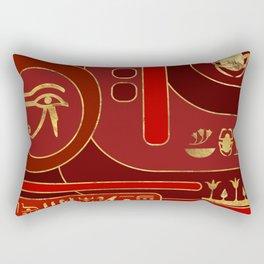 Egyptian Geometric Art Deco Red and Gold Rectangular Pillow