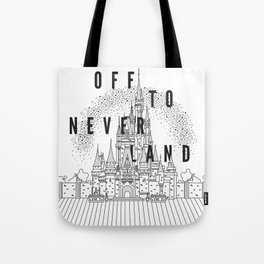 Off to Neverland: Black & White Tote Bag
