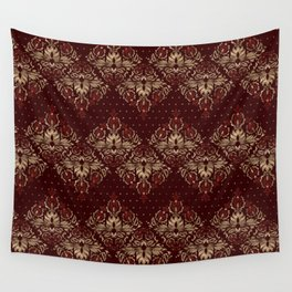 Persian Oriental pattern deep red and gold Wall Tapestry