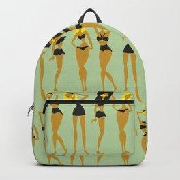Blonde Bombshells – Black Bikinis on Mint Backpack