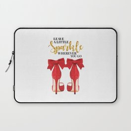 Leave a little sparkle wherever you go, Quote, make up, Makeup, Vanity, make up, Shoes, Red shoes Laptop Sleeve