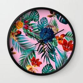 Vintage Hawaiian Tropical Island Floral Jungle Pattern Wall Clock