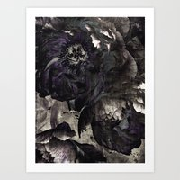 goth Art Prints featuring goth peony by inourgardentoo