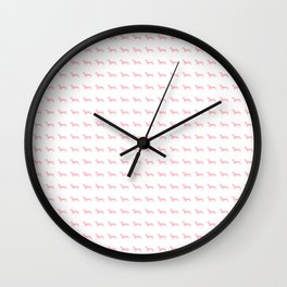 Pink Dachshunds Wall Clock
