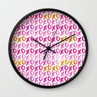 xoxo Wall Clocks featuring XOXO by Sara Berrenson