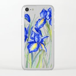 Blue Iris, Illustration Clear iPhone Case