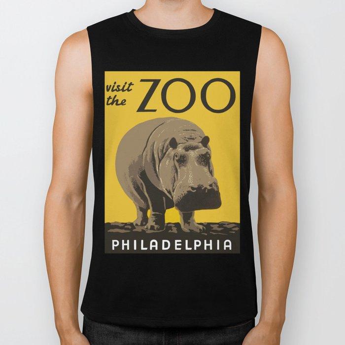 Vintage Visit The Zoo Hippo Biker Tank